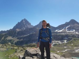 About Midwestern Backpacking Author, at Hurricane Pass, backpacking at Grand Teton National Park