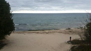 Sandy beach, backpacking Rock Island Door County