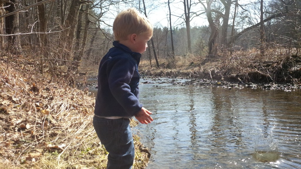 2yo Charlie throws rocks into a creek on his first big hike at White Pines State Park Illinois, Backpacking with kids, camping with kids, and hiking with kids