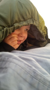 Charlie in his sleeping bag, backpacking with kids, camping with kids