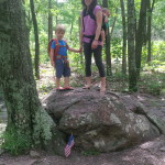 Mom, son, and baby sister hiking at Tom Sauk Mountain Missouri, hiking with kids, backpacking with kids, camping with kids
