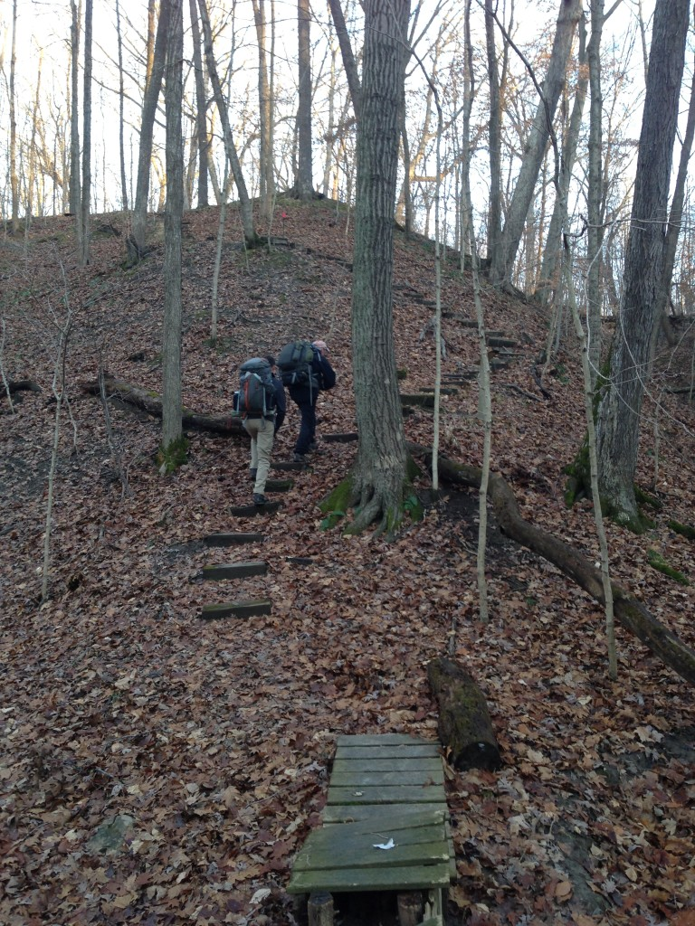 Climbing a hill, Forest Glen Preserve, River Ridge Backpack Trail, Backpacking Illinois